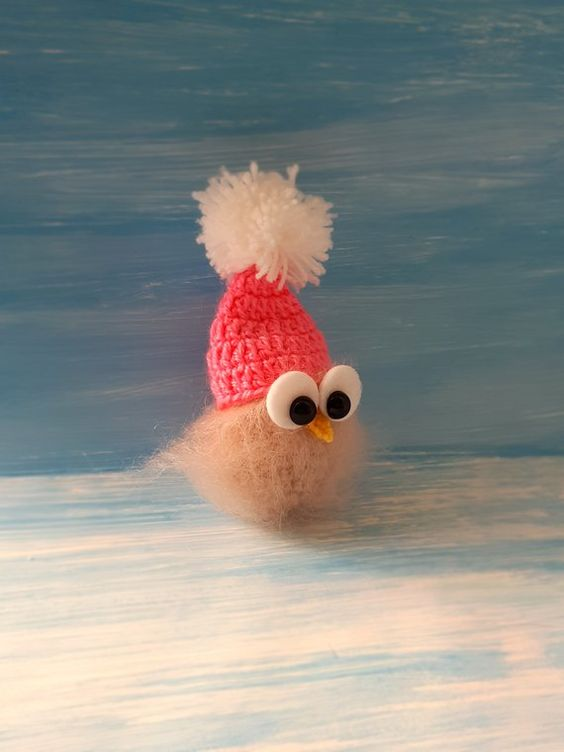 Christmas knitted owl handmade toys beige owl  cotton yarn mohair owl amigurumi Christmas miniature