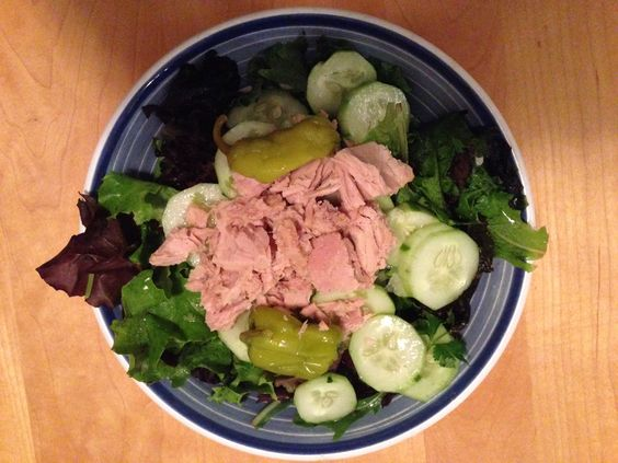 Dinner: Salad greens, cucumber, pepperoncini and tuna.