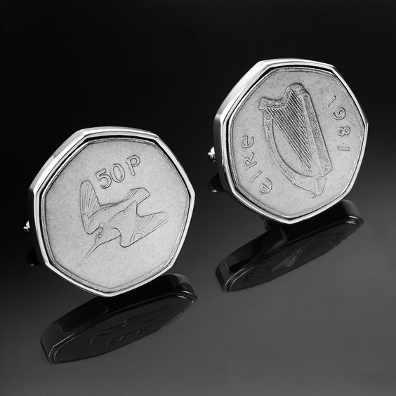A worlds first. When the only Irish coin is a 50p what do you do ? Well if you are making cufflinks from each year, you just have to make Irish 50p Cufflinks. You will not find these anywhere else. Are they big and bold, yes they are. Limited edition. See 1977 on birthday cufflinks     http://www.birthdaycufflinks.ie/product/1977/IE46Ireland50pCufflinks