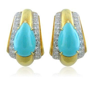 David Webb 18K yellow gold and platinum earrings featuring Turquoise teardrops. DESIGNER: David Webb MATERIAL: Platinum, 18K Gold GEMSTONE: Diamond, Turquoise CLARITY: VS DIAMOND: COLOR G DIMENSIONS: