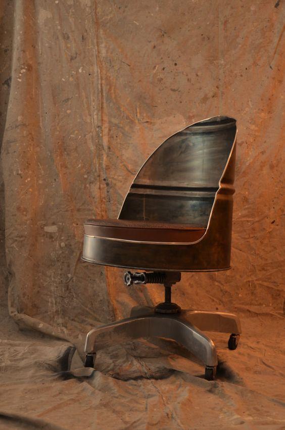 Bureau chaise baril style industriel avec base vintage - Chaise de bureau style industriel ...