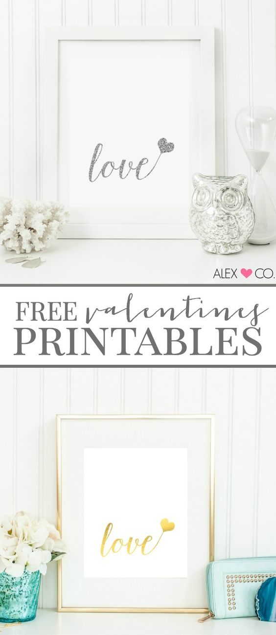 Free Valentines Printables via A Night Owl Blog - download these FREE printables in gold foil and silver glitter, perfect for home decor, gifts and more!