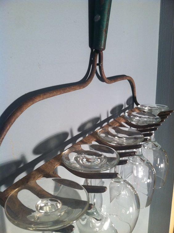 Vintage Rake Wine Glass Holder by ZassysTreasures on Etsy, $24.00
