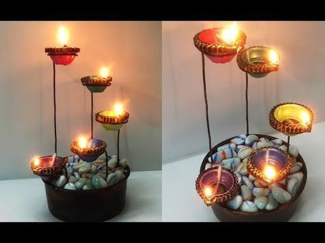Beautiful Diya Stand For Diwali Decoration Easy Diya Decoration Idea Diy Tea Light Candle Holder Youtube Lilin Diy Dekorasi Buatan Sendiri Tempat Lilin