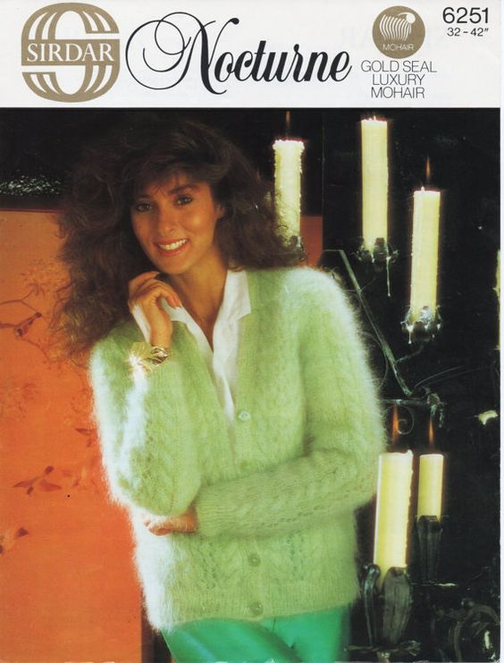 Womens Knitting Pattern Ladies Mohair Cardigan Womens Mohair Cardigan 32-42 inch 10 Ply Mohair Ladies Knitting Pattern PDF instant download