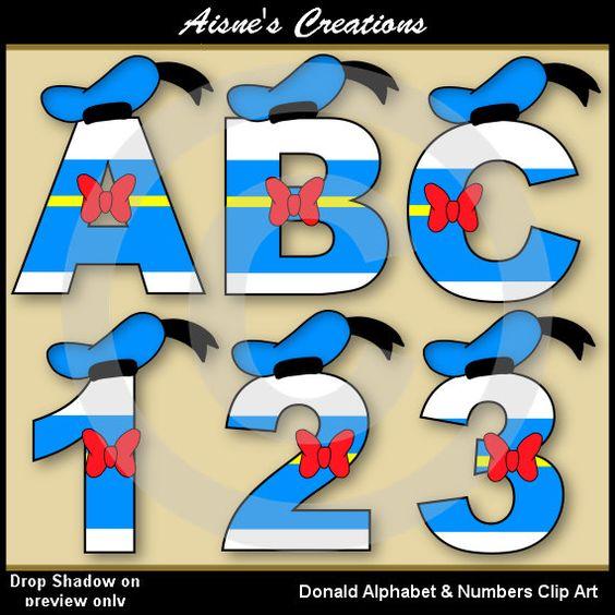 Números y letras del alfabeto de Donald Clip por AisnesCreations