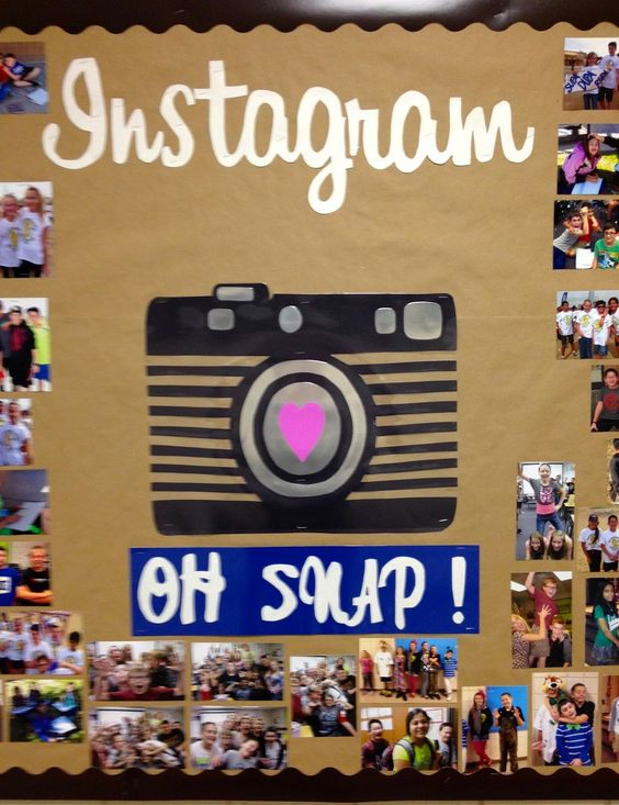 Instagram Bulletin Board. From Marci Coombs Blog.  I will use this to display classroom pictures from the school year.: