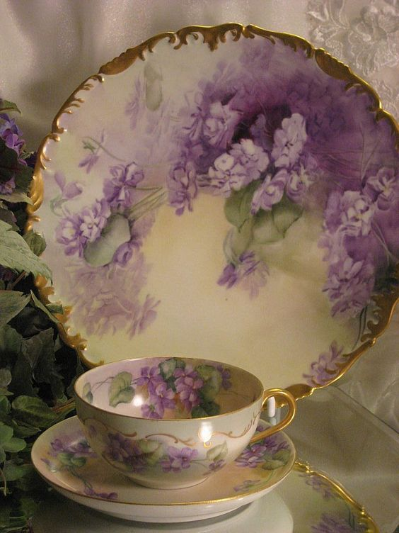 Purple Violets Teacup & Saucer   c. 1900: