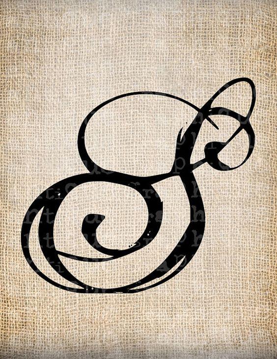 Antique Letter S Script Monogram Digital by AntiqueGraphique, $1.00