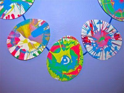 spin art Easter eggs