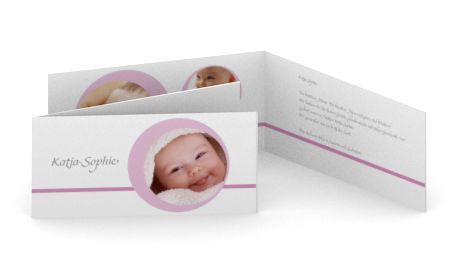 Geburtskarte rosa Kreis