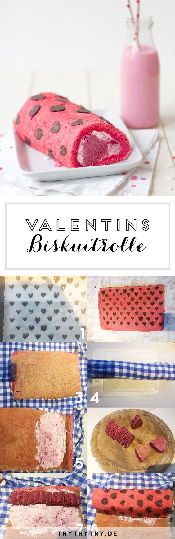Valentinstags Biskuitrolle