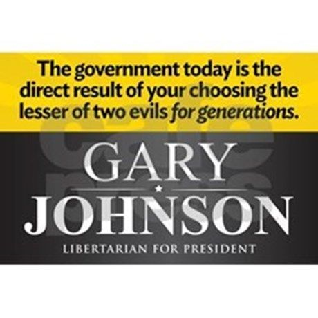 The government today is the direct result of your choosing the lesser of two evils for generations. Gary Johnson. Libertarian for President. By LibertyManiacs.com