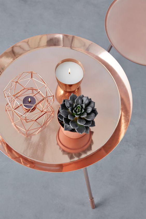 I like this look for a bedside table. I wouldnt have everything copper though. By Mia  Copper Look.