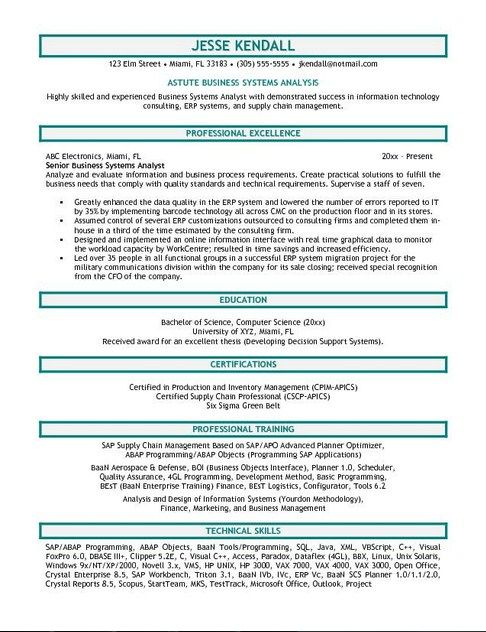 Business Systems Analyst Resume Sample Business, Resume help and - Systems Analyst Resume
