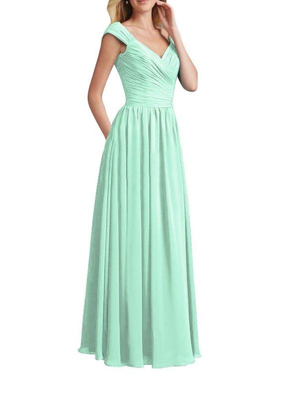 Huafeiwude Women's Long Bridesmaid Dreses Maxi Prom Dresses Mint Green US 16