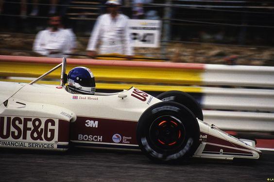 Derek Warwick's brakes glow on his Arrows-Megatron at Paul Ricard in 1987.