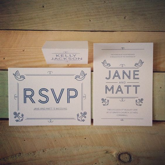 Nautical themed wedding invites by Pip Designs- http://www.pip-designs.co.uk