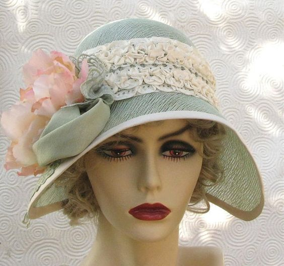1920s garden tea party cloche in mint green cotton buckram