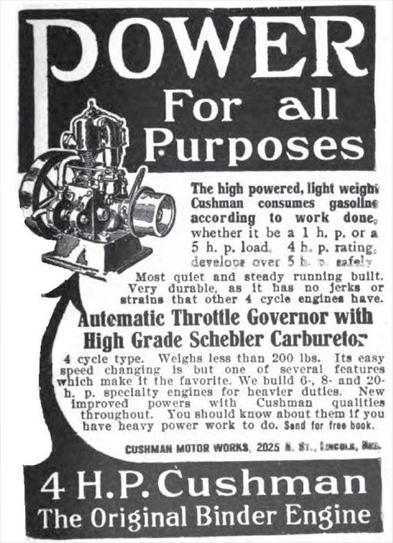 1913 Cushman 4 Hp Binder Engine Ad Higher Power Quiet Power