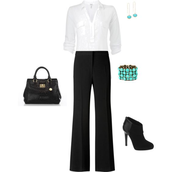 U0026quot;Interview Outfitu0026quot; white 3/4 sleeve button shirt black bootcut pants black booties black bag ...