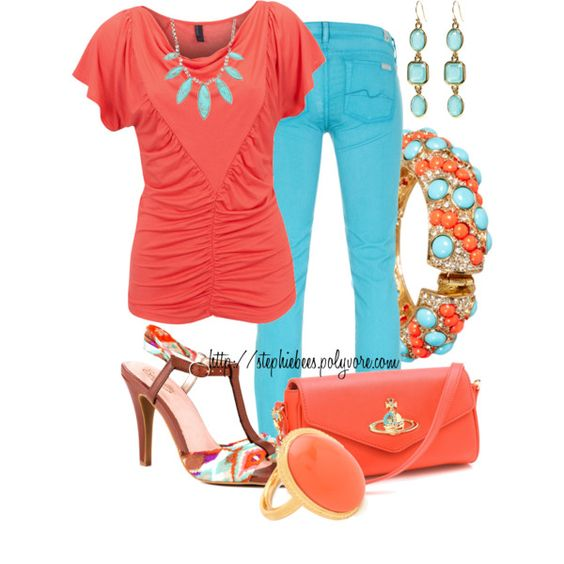 Turquoise with Coral, created by stephiebees on Polyvore