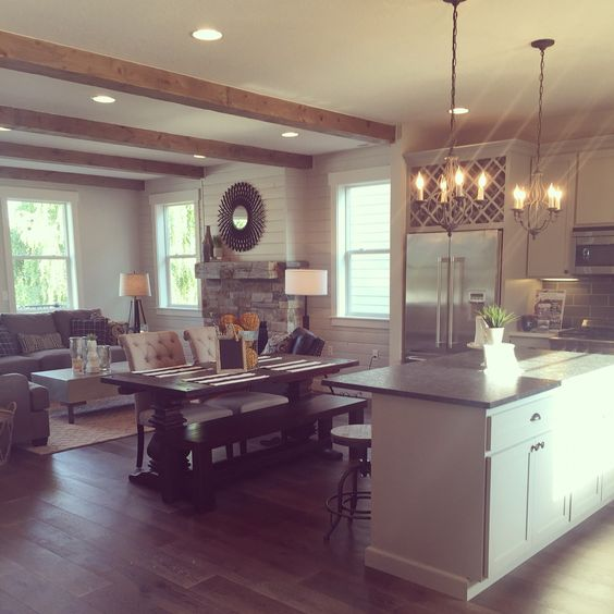 interior design for living room and kitchen - Industrial living, ustic industrial and Beams on Pinterest