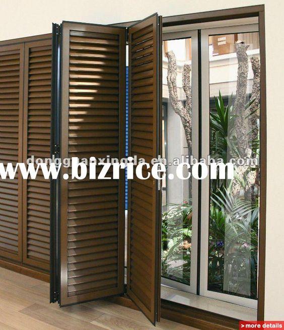 Exterior: Brown Shutters For Sliding Glass Doors