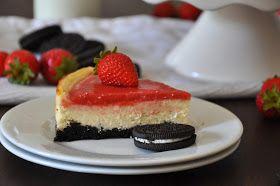 Krümelkreationen: Oreo-Käsekuchen mit Erdbeer-Spiegel