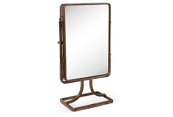 Art Deco Dressing Mirror Trifold dressing mirror with brass frame; circa 1920.
