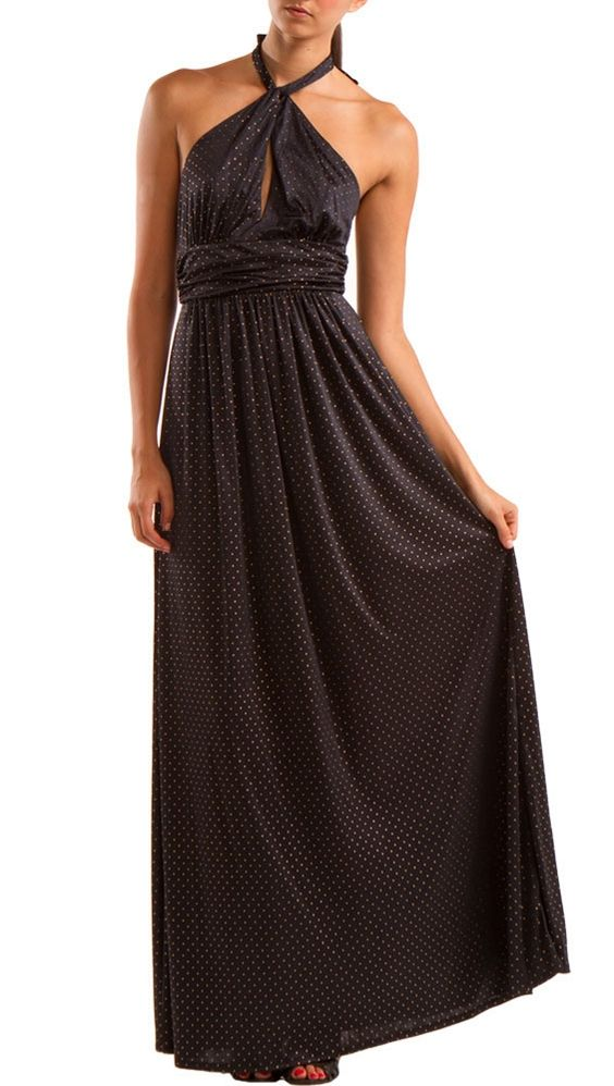 Maxi Dress W Keyhole , Black/ gold by YOUNG by Yoyo Yeung