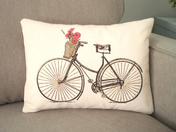 Bicycle Print Throw Pillow : Lumbar Pillow Cover Decorative Throw Pillow Vintage Bicycle with Orange Poppies Print on Natural ...