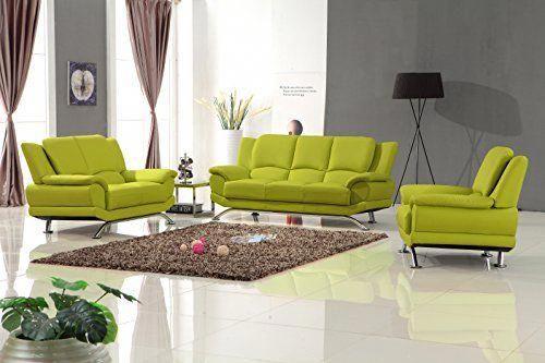 Matisse Milano Leather Sofa Set Lime Green Green Sofa Living Room Green Leather Sofa Living Room Sets Furniture