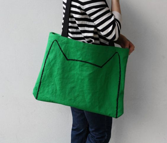 Emerald Green Cat Tote Bag