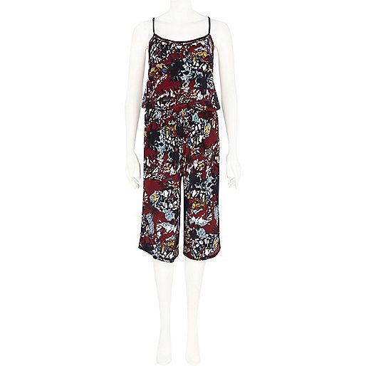 Dark red fern print casual jumpsuit