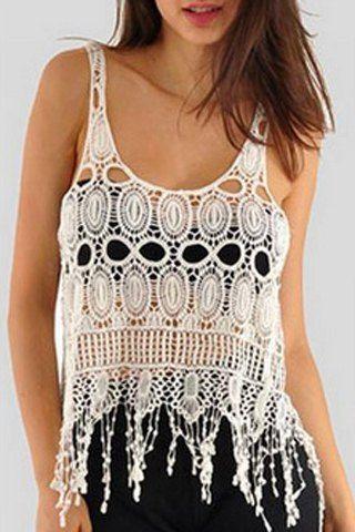 Chic Scoop Neck Sleeveless Pure Color Crochet Women's Tank Top