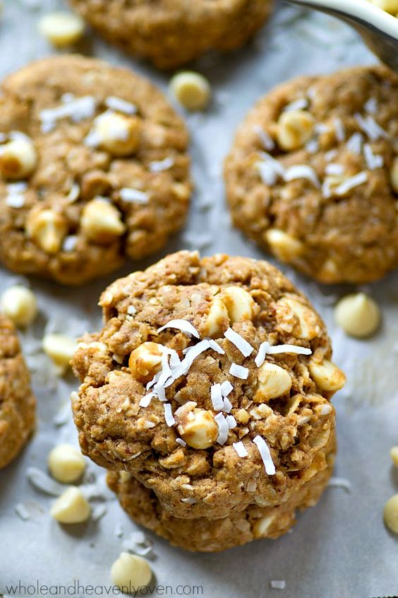White Chocolate Coconut Oatmeal Cookies | Recipe | Coconut Oatmeal ...