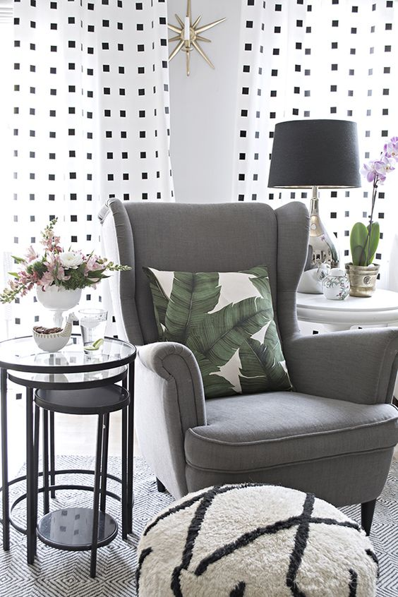 spring home tours 2016 nesting tables spring and white curtains. Black Bedroom Furniture Sets. Home Design Ideas