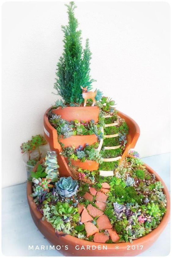 Broken Pot Succulent Remake Broken Pot Broken Flower Pot fairies garden #fairygardening