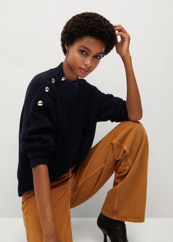Camisola botões decorativos - Cardigãs e camisolas de Mulher | Mango Portugal