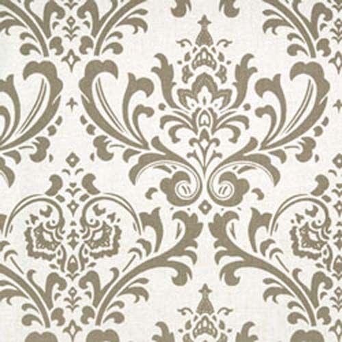 Traditions Kelp Linen Taupe Ecru Damask Print Fabric