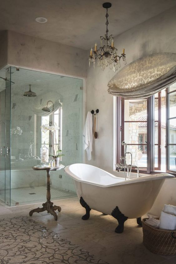 20 enchanting mediterranean bathroom designs you must see for Non see through glass for bathrooms