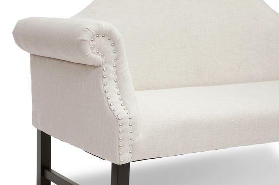 Pryor Beige Linen Modern Loveseat Bench