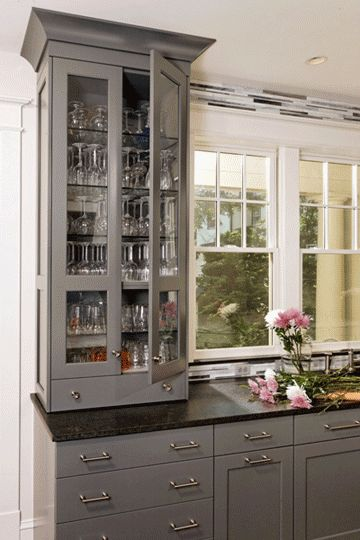 Gray cabinets cabinets and gray on pinterest for Black cabinets with black countertops