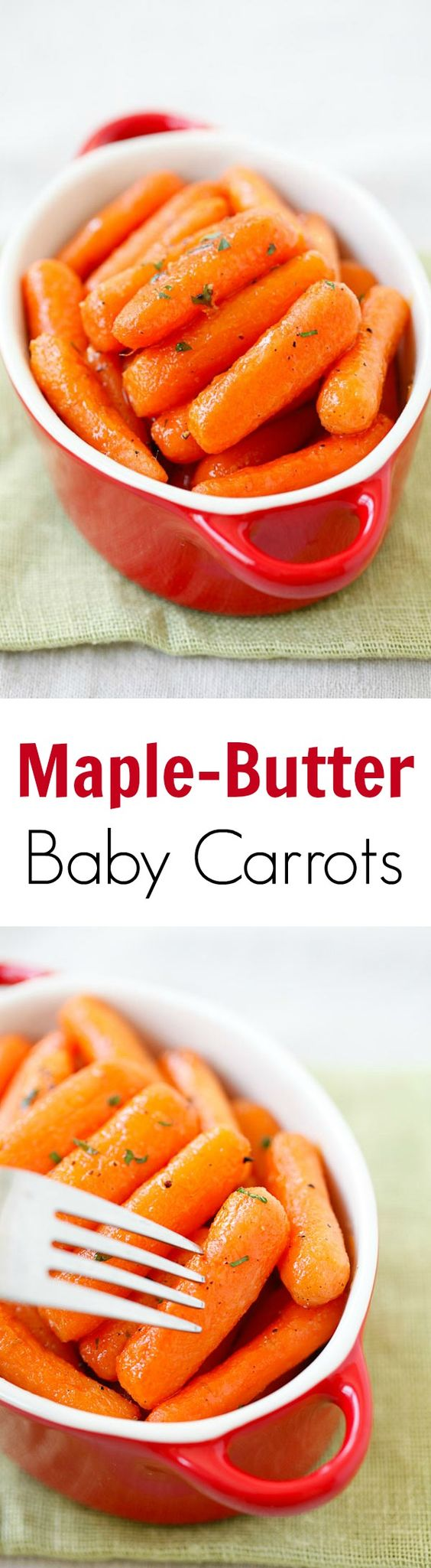 Maple-butter roasted baby carrots – tender and soft carrots roasted with sweet maple-butter. Great and healthy side dish for the entire family!! | rasamalaysia.com