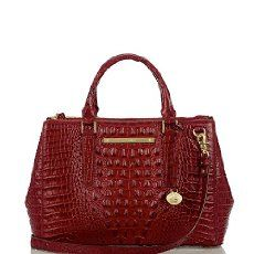 The #Brahmin Small Lincoln Satchel in Carmine Red Melbourne