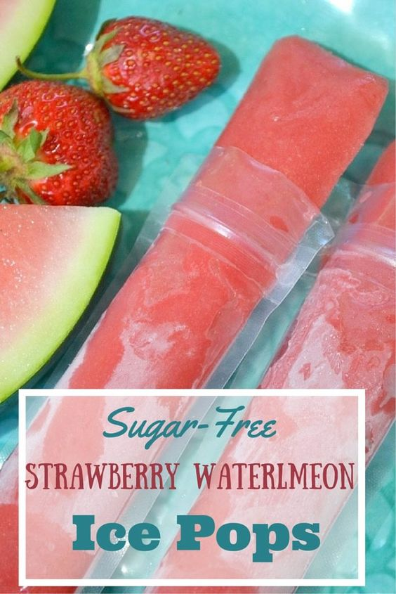 Healthy watermelon strawberry ice pops with no refined sugars. So ...
