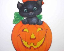 Vintage Halloween Die Cut Decoration with Black Cat in Grinning Jack o Lantern by Hallmark