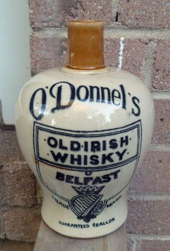 RARE O'DONNEL'S OLD IRISH WHISKY BELFAST IRELAND WHISKEY STONEWARE FLAGON JUG.