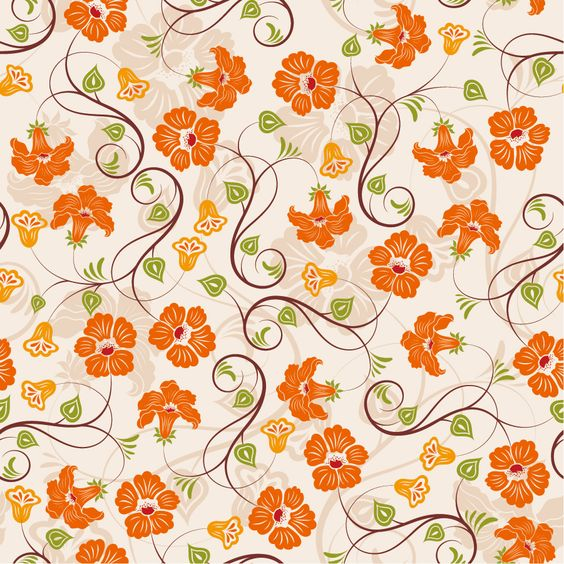 [パターン]オレンジ色の花と蔓